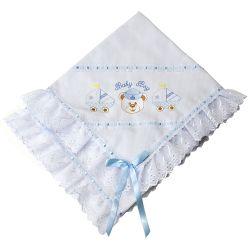 Manta Piquet Ursinho Marinheiro Baby Boy Azul