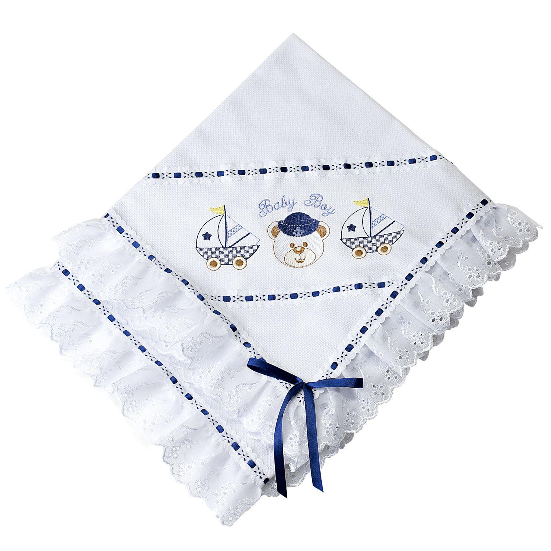 6441066ef Manta Piquet Ursinho Marinheiro Baby Boy Azul Marinho