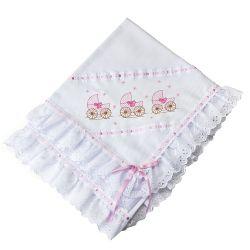 Manta Piquet Carrinhos de Bebê Rosa
