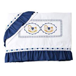 Jogo de Lençol Cavalinho de Balanço Real Azul Marinho