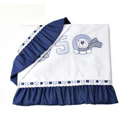 Jogo de Lençol de Carrinho Baby Ursinhos Azul Marinho