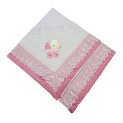 Manta Malha Ursinha no Carrinho Pink