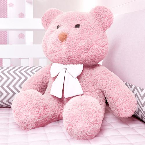 Ursa Rosa com Laço Branco 52cm