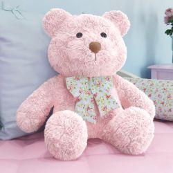 Ursa Rosa com Laço Floral 52cm