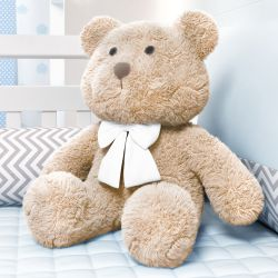 Urso Bege com Laço Branco 52cm
