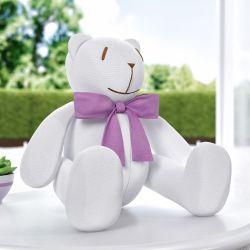 Ursinha Branca com Laço Lilás 34cm