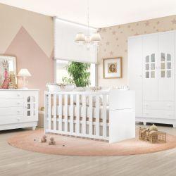 Quarto de Bebê Requinte com Berço/Cômoda 1 Porta/Guarda-Roupa 4 Portas