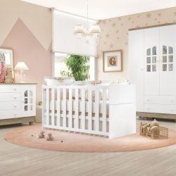 Quarto de Bebê Requinte Amadeirado com Berço/Cômoda 1 Porta/Guarda-Roupa 4 Portas