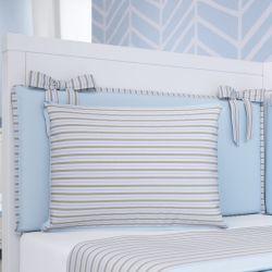 Almofada Retangular Listrada Azul e Bege 38cm
