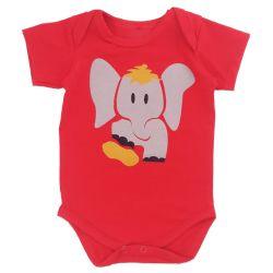 Body Manga Curta Elefante Vermelho