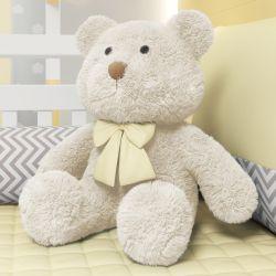 Urso Bege com Laço Amarelo 52cm