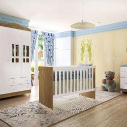 Quarto de Bebê Ariel Amadeirado com Berço/Cômoda/Guarda-Roupa de 3 Portas e 2 Gaveta