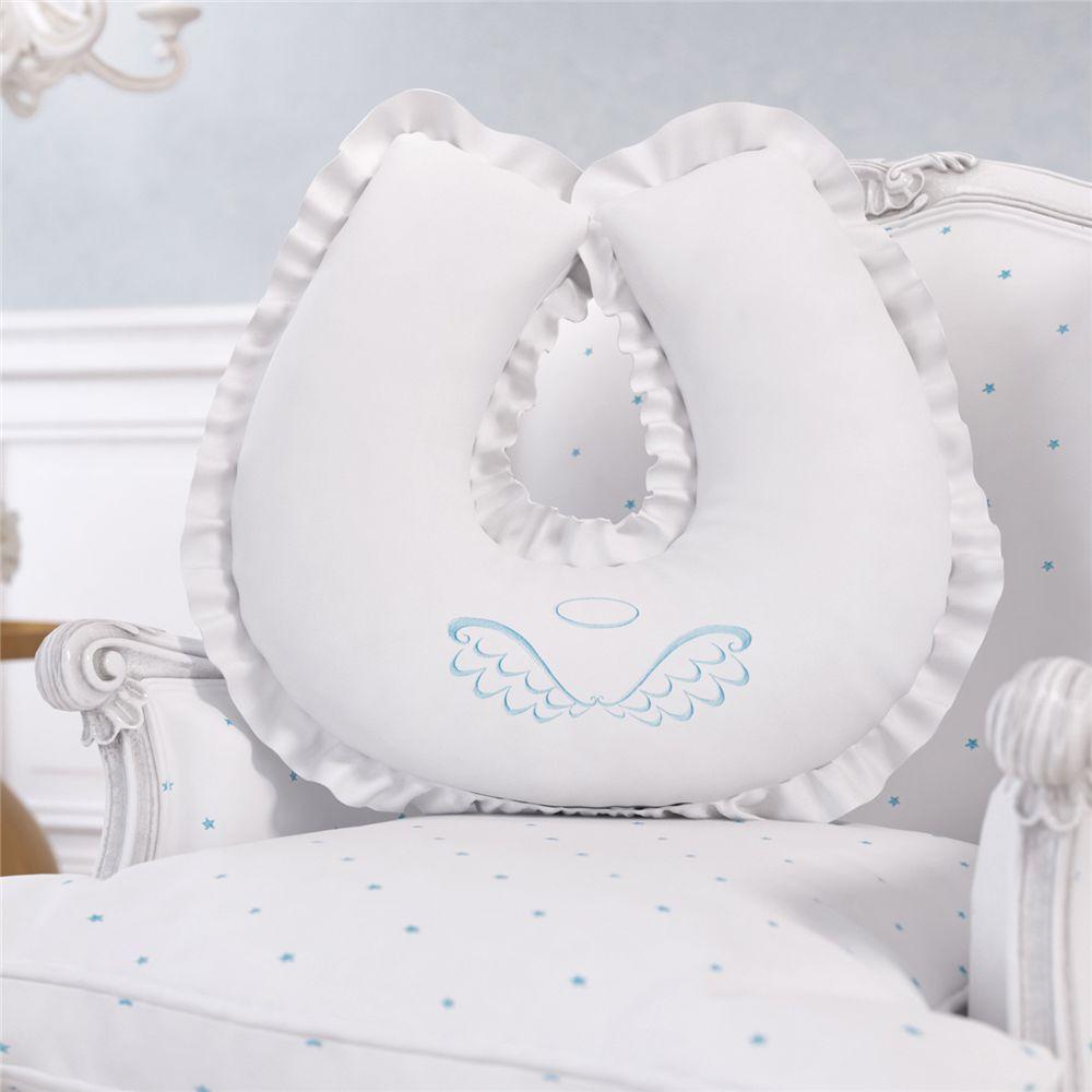 Almofada Amamentação Branco e Azul Menino Anjo Grão de Gente