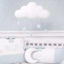 Móbile Nuvem Pompom com Estrelinhas Azul