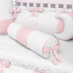 Almofada Rolinho Pregas e Laço Rosa 60cm