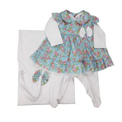 Saída Maternidade Floral Branca e Azul