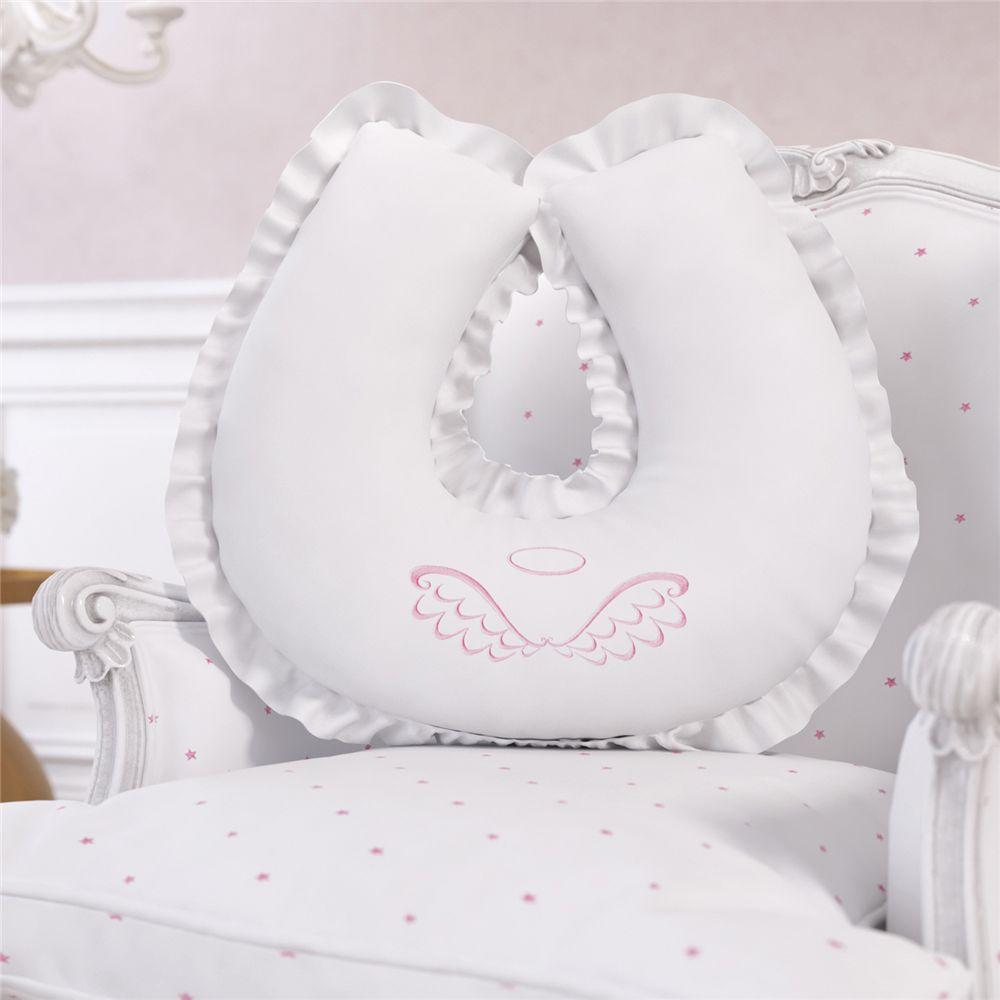 Almofada Amamentação Branco e Rosa Menina Anjo Grão de Gente