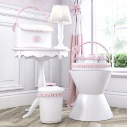 Kit Higiene Clássico com Babado e Laço Rosa