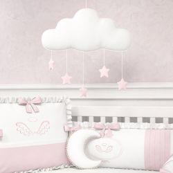 Móbile Nuvem Pompom com Estrelinhas Rosa