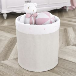 Cesto Organizador para Brinquedos Estrelinhas Rosa 35cm