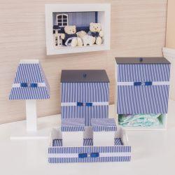 Kit Higiene Completo Klin Azul Marinho Listrado