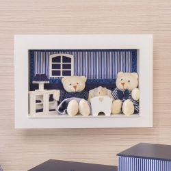 Quadro Nicho Familia Urso Klin Azul Marinho Listrado