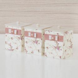 Jogo de Potes Floral Rosé