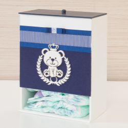 Porta Fraldas Urso Azul Marinho Listrado