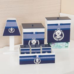 Kit Higiene Urso Azul Marinho Listrado