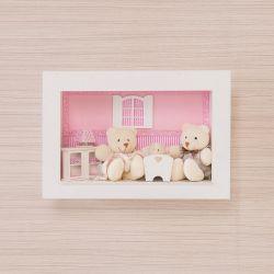Quadro Família Urso Klin Rosa