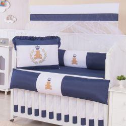 Kit Berço Urso Coroa Azul Marinho