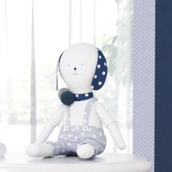 Boneco de Pano Mimo Cachorrinho Azul Marinho