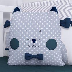 Almofada Amiguinho Gatinho Azul Marinho 32cm