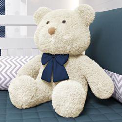 Urso Bege com Laço Azul Marinho 52cm