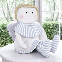 Boneco de Pano Carinho G Baby Anjo Azul