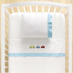 Jogo Lençol de Berço Bordado Carrinhos Azul Bebê 3 Peças