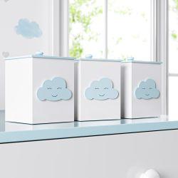 Jogo de Potes Nuvem Azul