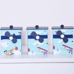 Jogo de Potes Aviãozinho Azul Marinho