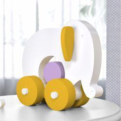 Elefante Educativo para Bebê Branco, Amarelo e Lilás