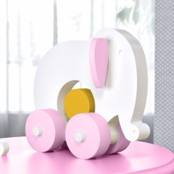 Elefante Educativo para Bebê Branco, Rosa e Amarelo