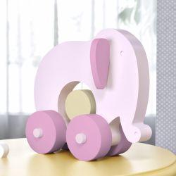 Elefante Educativo para Bebê Rosa e Bege