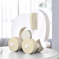 Elefante Educativo para Bebê Branco e Bege