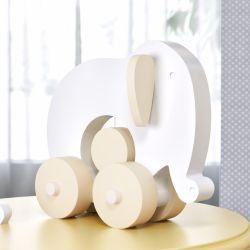 Elefante Educativo para Bebê Branco e Amarelo