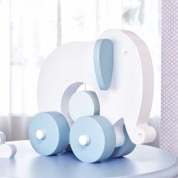 Elefante Educativo para Bebê Branco e Azul Bebê