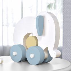 Elefante Educativo para Bebê Branco, Azul e Bege