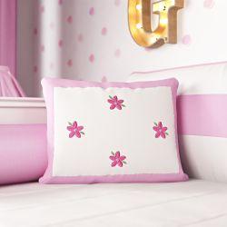 Almofada Bordado Flores Rosa