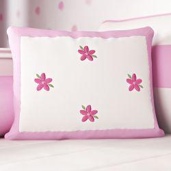 Almofada Bordado Flores Rosa 43cm