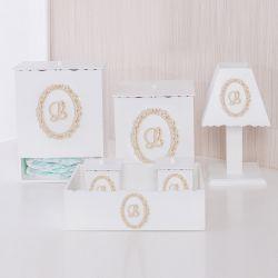 Kit Higiene Nobreza Real com Inicial do Nome Personalizada Bege