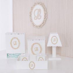 Kit Higiene Completo Nobreza Real com Inicial do Nome Personalizada Bege