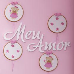 """Painel Decorativo """"Meu Amor"""" MDF 46cm"""